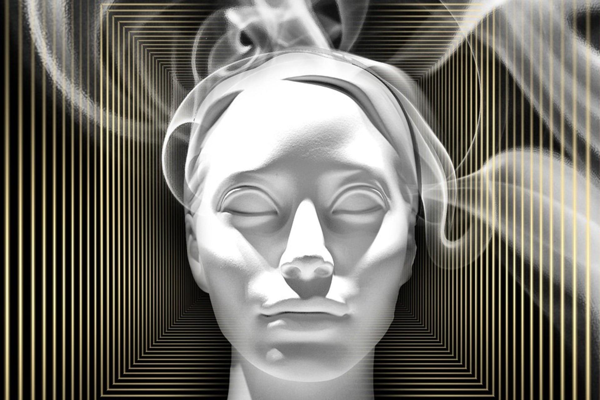 face through light and smoke