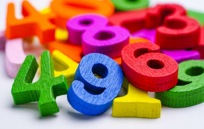 colorful numbers against a white background