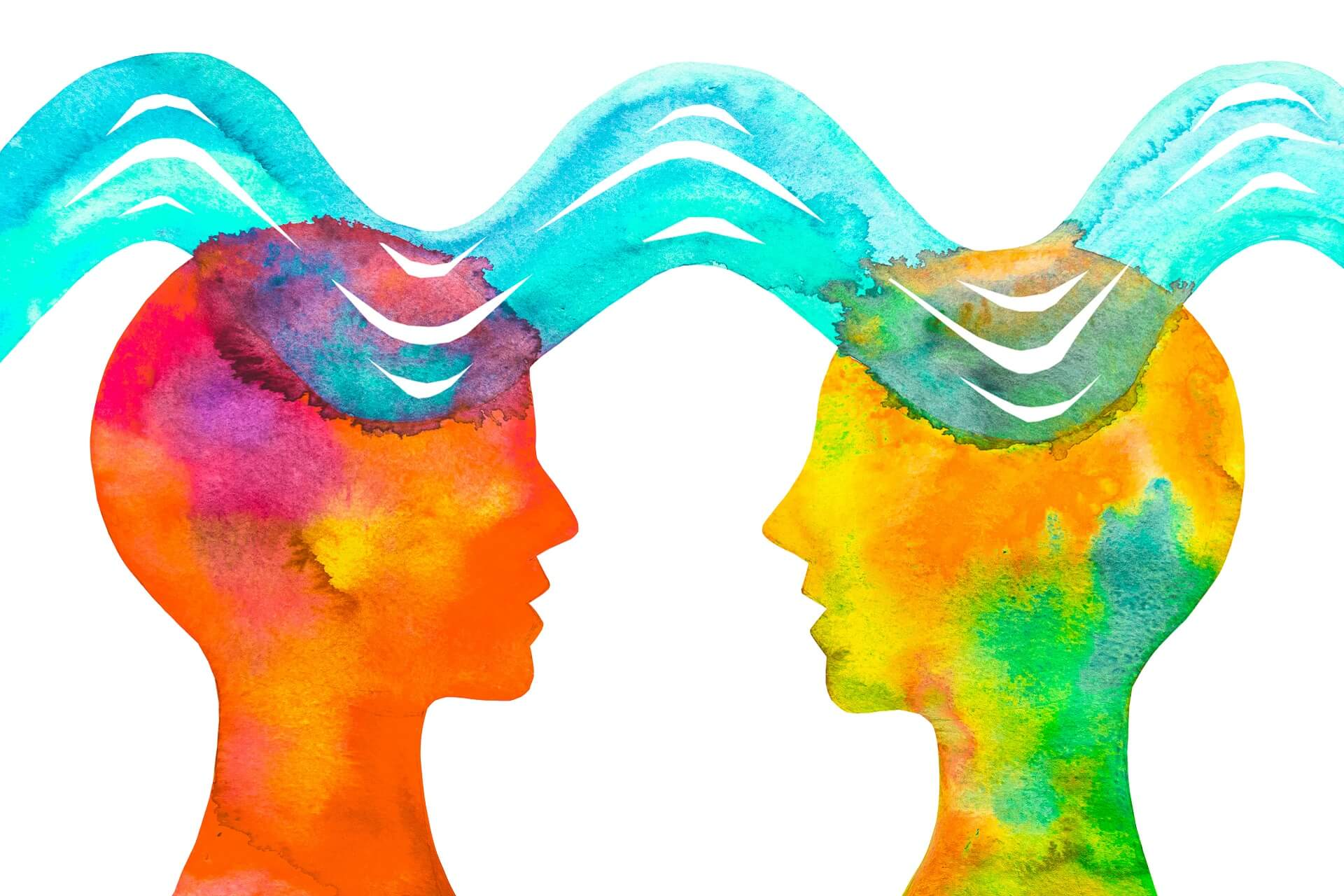 sketch depicting communication with thought