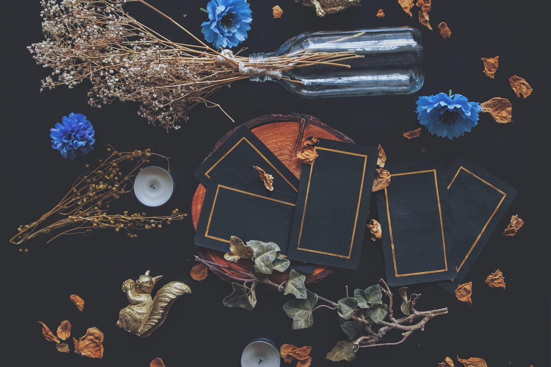 Tarot cards spread on a table