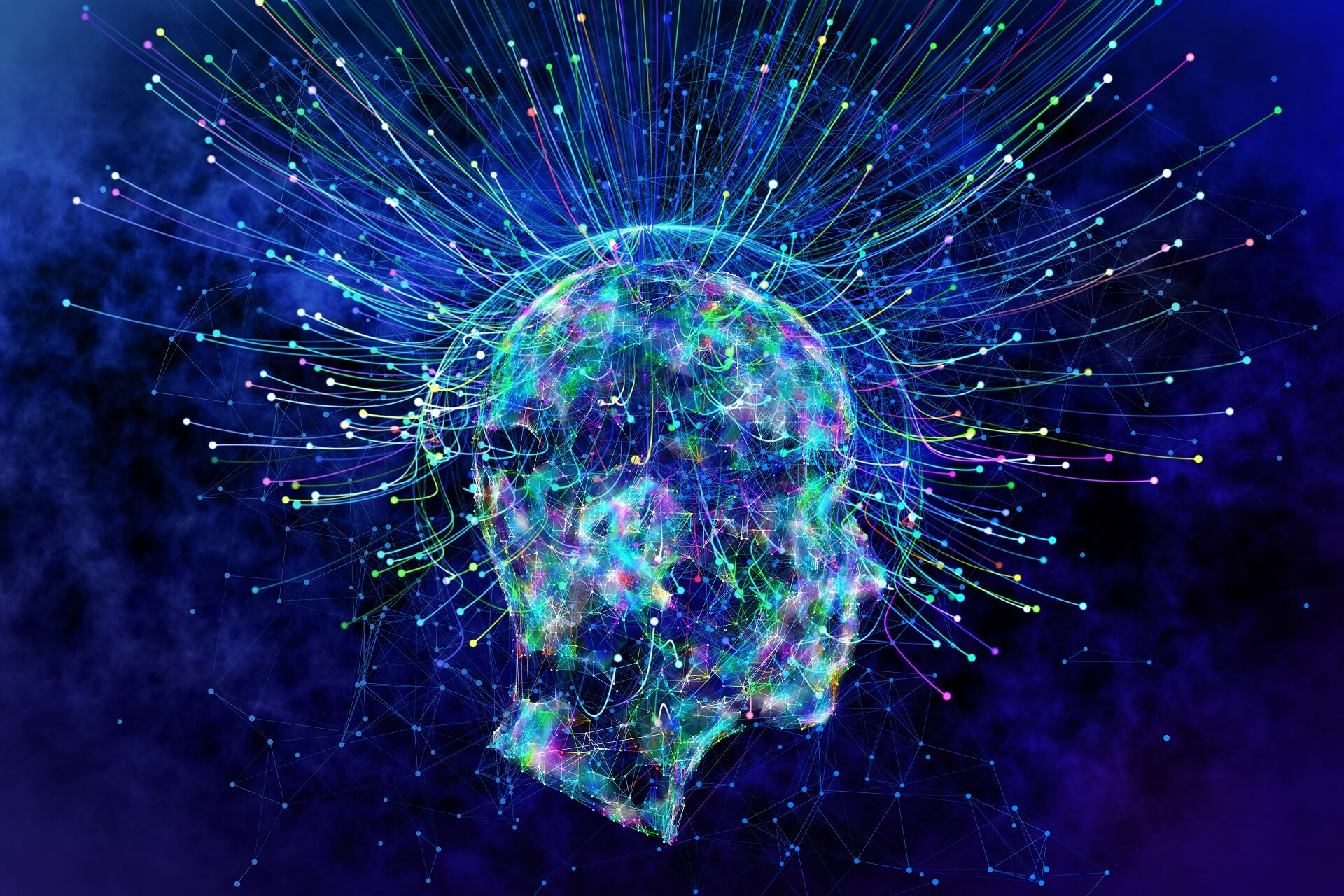 light emanating from a person's brain