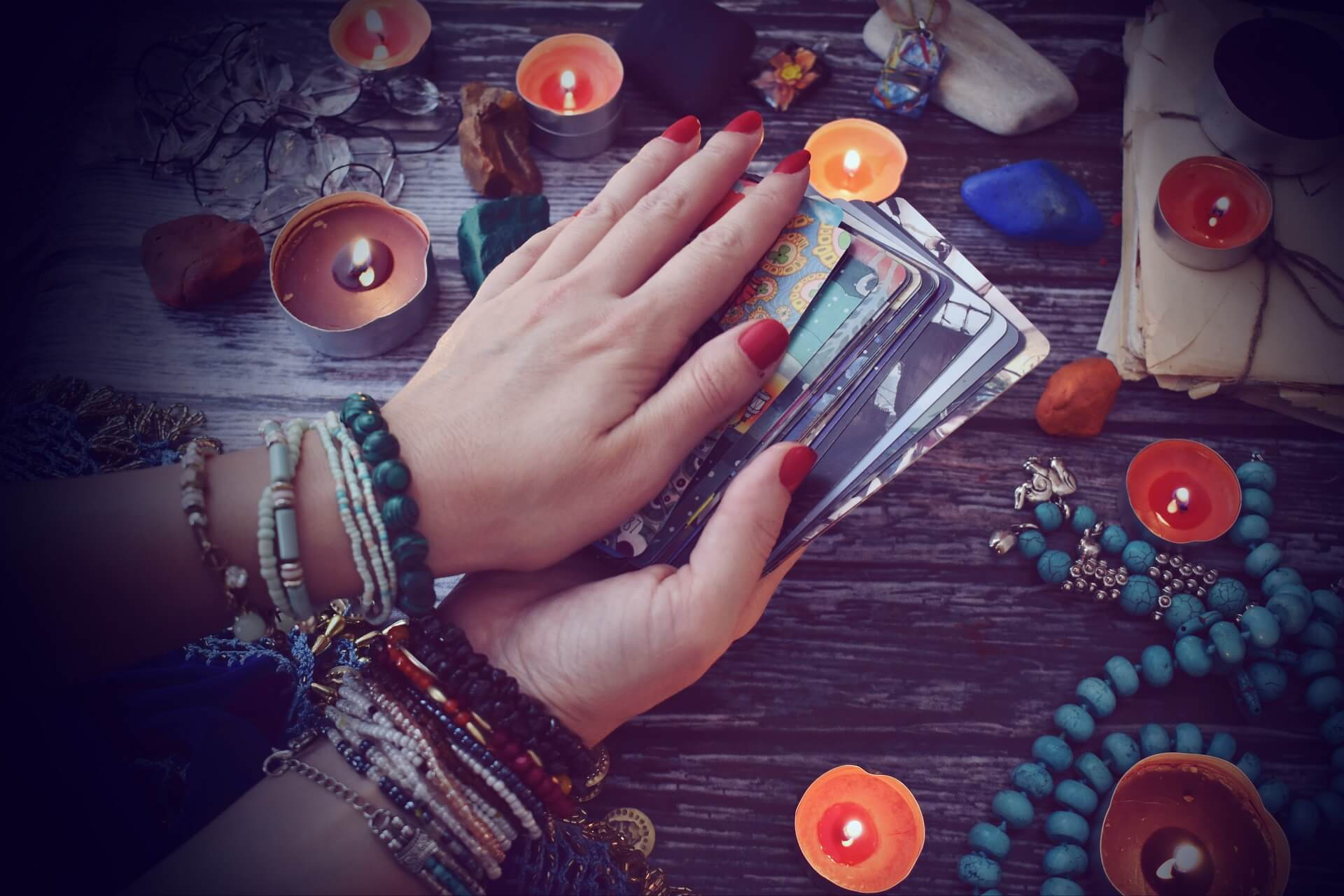 A psychic with Tarot cards